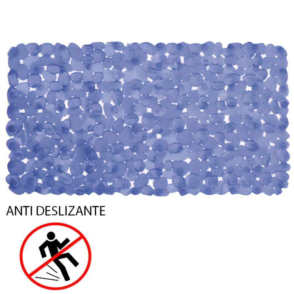 Alfombra Baño Antideslizante Stone 69x36 cm. Azul